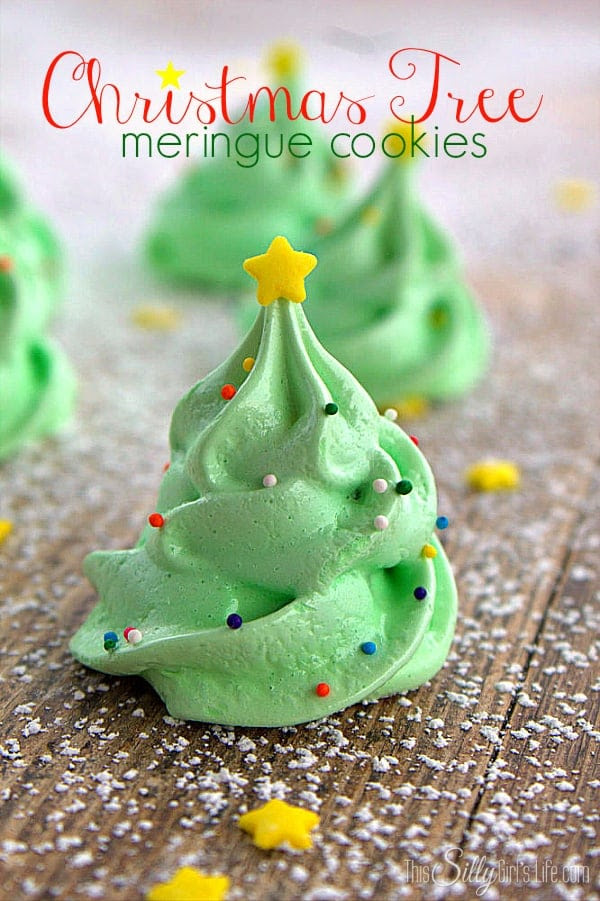 Christmas Tree Meringue Cookies, fun and festive meringue cookies that are light as air and melt in your mouth! Super cute for your holiday party! - ThisSillyGirlsLife.com