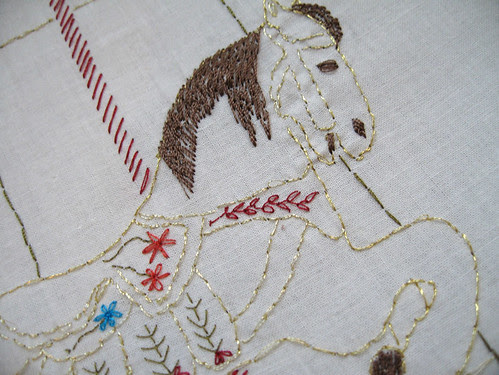 close-up of carousel embroidery