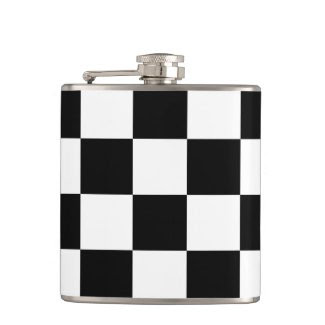 Checkered Black and White Hip Flasks