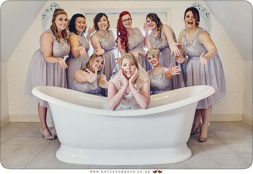 Bride and bridesmaids in bath, Woodhall Manor - www.helloromance.co.uk