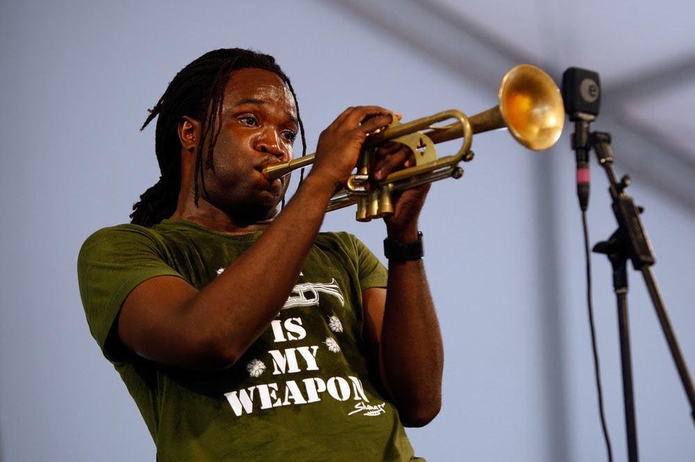 Trumpeter Shamarr Allen, who has recorded both as a leader and sideman for Threadhead Records-funded projects, plays at the 2009 New Orleans Jazz & Heritage Festival.
