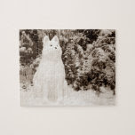 funny snow akita snowman photo christmas jigsaw puzzles