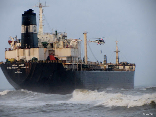 A cargo goes aground