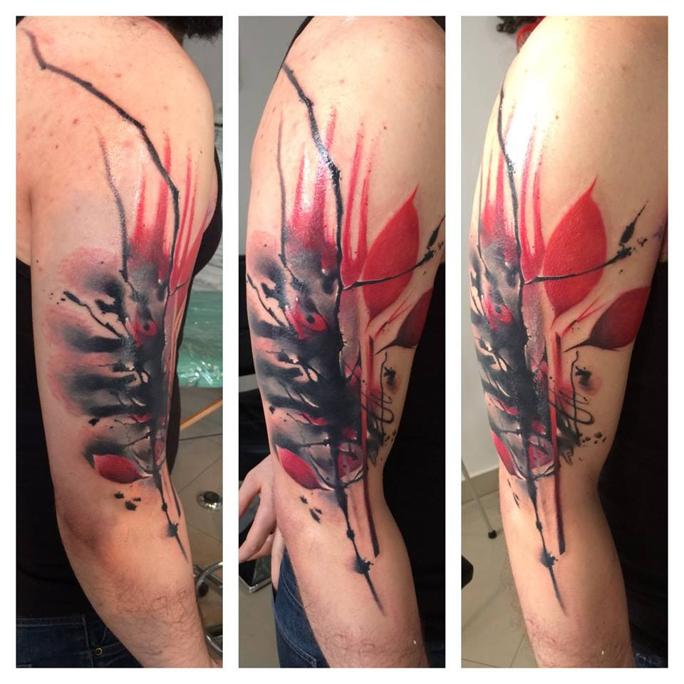 Red And Black Half Sleeve Tattoo By Lukasz Kaczmarek Design Of