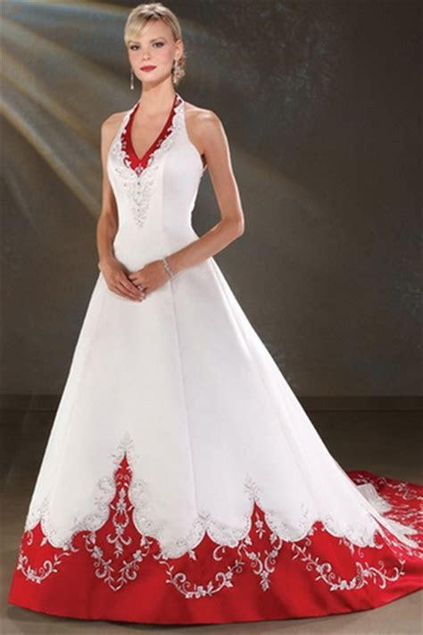 White wedding dresses with red accents: Pictures ideas