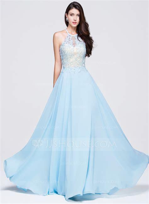 A Line/Princess Scoop Neck Floor Length Chiffon Prom Dress
