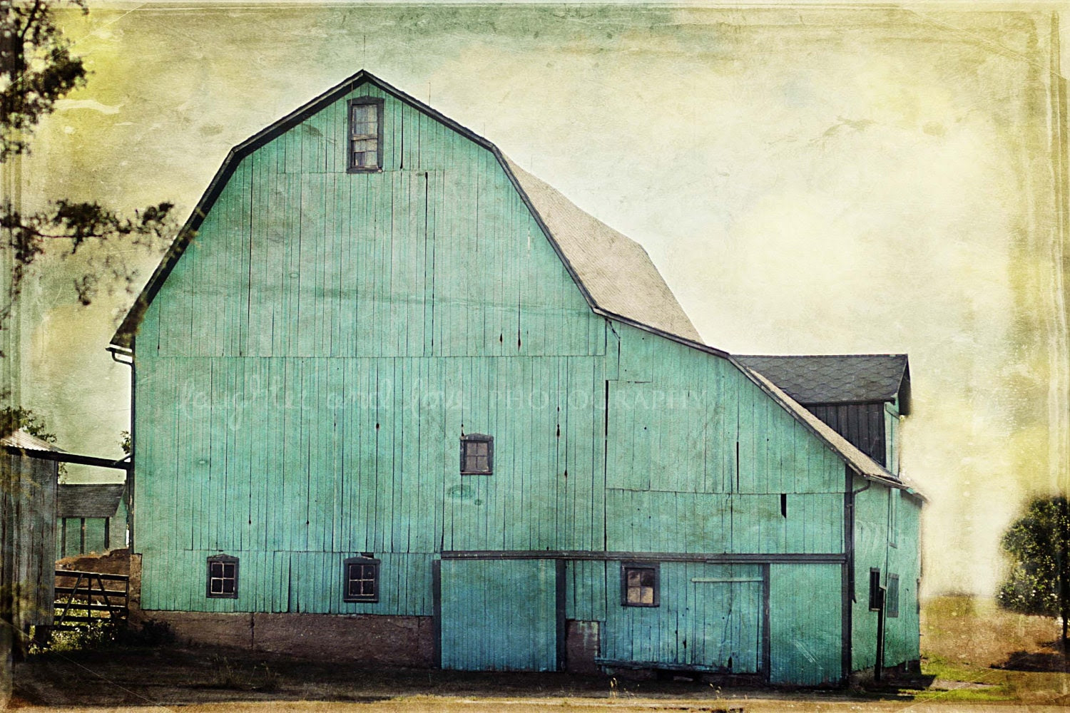 Aqua Barn 8x12 Fine Art Photography Farm Country Shabby Chic Green Blue Rustic Vintage Home Decor Wall Art