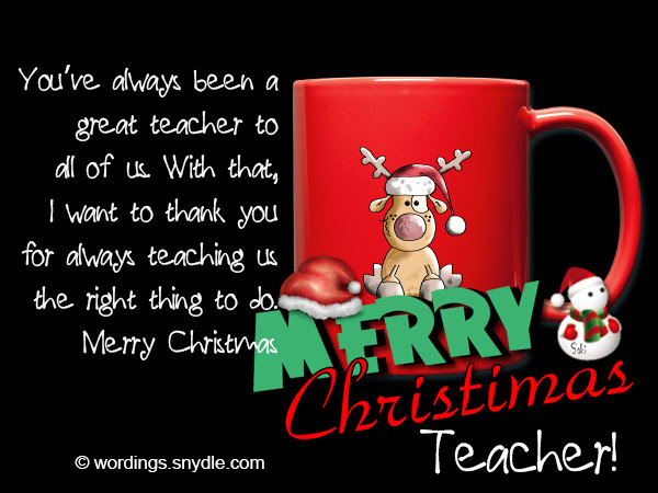 Christmas Card From Teacher To Students