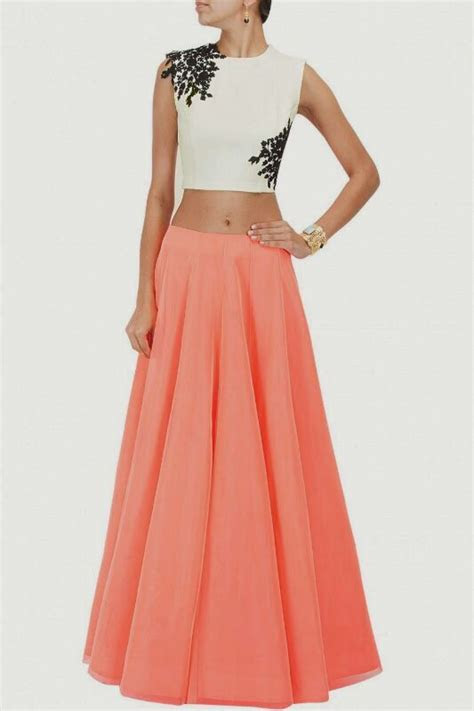designer dress flairy long skirt crop top stylish stunning