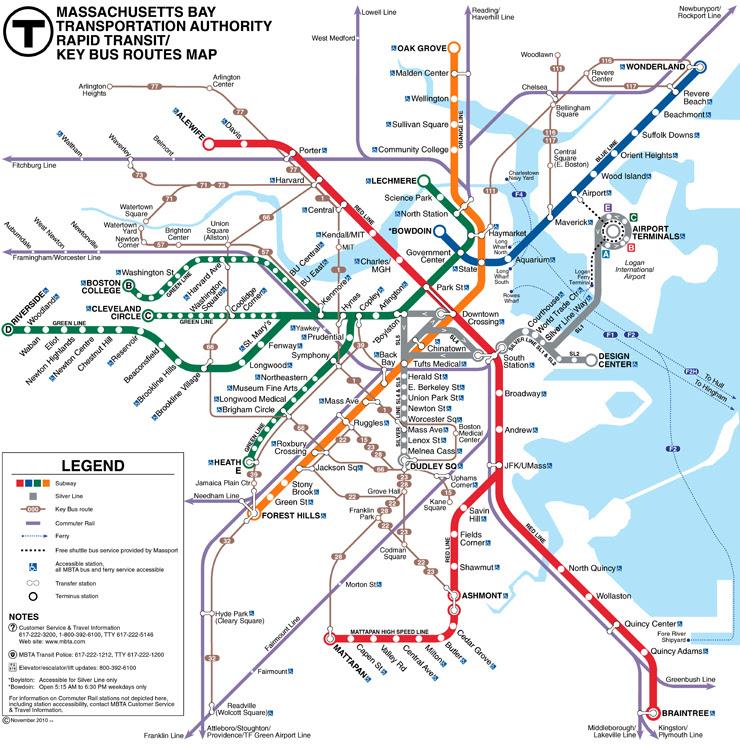 Subway Map Boston Mass.Mass Transit Boston Map Map Of Us Western States