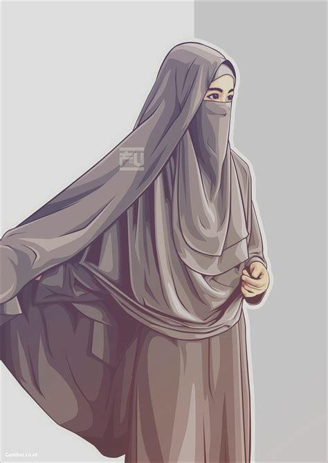 kumpulan kartun muslimah bercadar modern