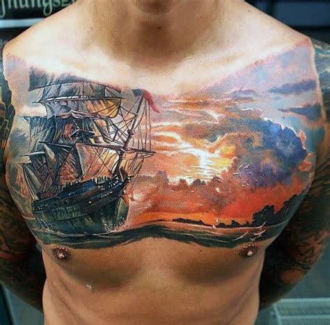 sunset tattoos  men fading daylight sky designs