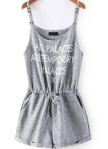 Light Grey Spaghetti Strap Letters Print Jumpsuit