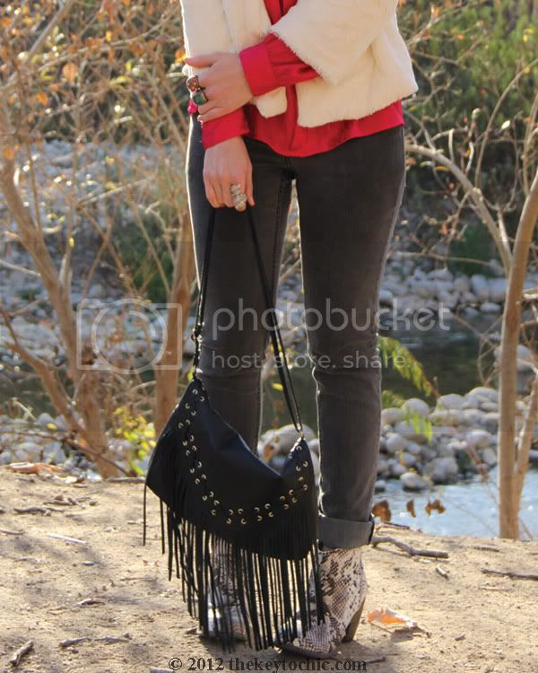 collarless faux fur jacket, Cheap Monday jeans, H&M fringe handbag, snake print ankle boots, Los Angeles fashion blogger, southern California fashion blog