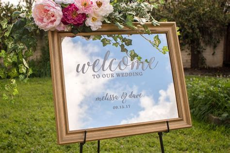 Framed mirror wedding welcome sign!   Wedding Calligraphy