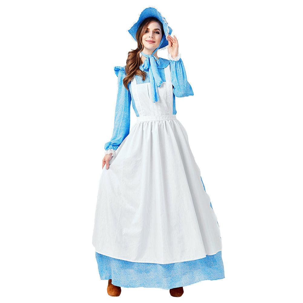 dienstmÄdchen kleidung damen frauen kleid blaue kleid cosplay erwachsene  für halloween karneval mottoparty koloniale kleidung