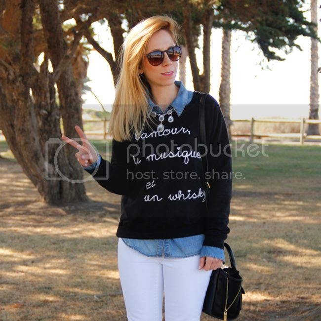 Los Angeles fashion blogger The Key To Chic wears a BoBo House whisky graphic sweater, white Gap jeans, and Phillip Lim for Target mini satchel