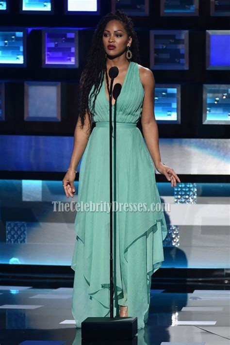 Meagan Good Mint V neck Evening Dress 2016 People?s Choice