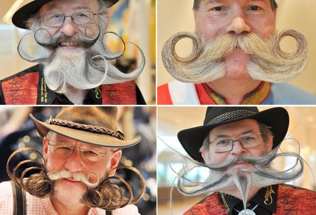 Montagem mostra cadidatos do campeonato de barba e bigode na Alemanha (Foto: Uli Deck/AFP)