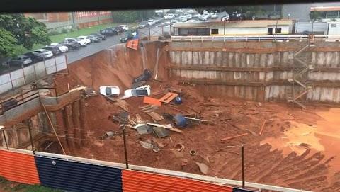 Cratera engole carros na Asa Sul