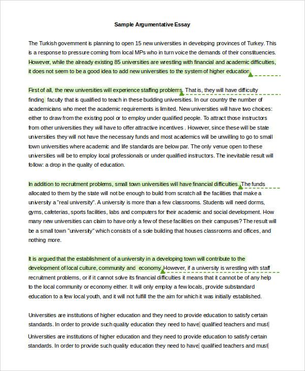 how to write an argumentative essay sample