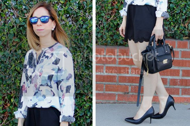Fashion blogger The Key To Chic wears a 3.1 Phillip Lim patchwork floral blouse with LC Lauren Conrad scalloped edge shorts and Ukies Arianna pumps.