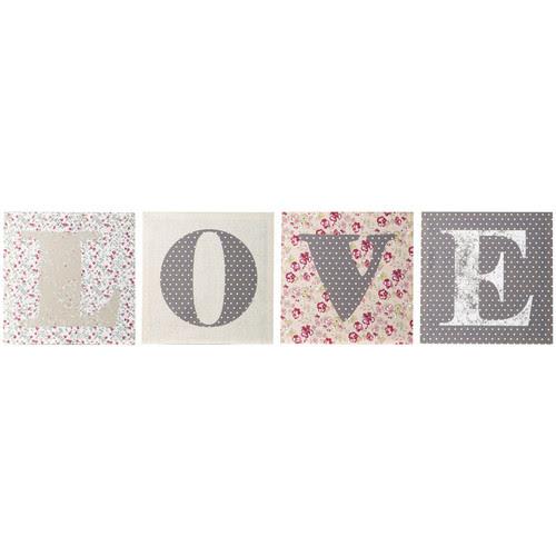 Conjunto de 4 lienzos Love