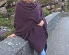 100% new wool - Irish tweed ruana , celtic wrap , cape - purple