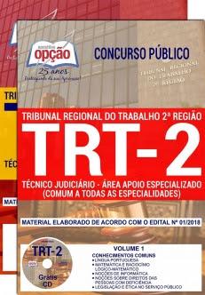 Concurso TRT 2ª Região 2018-TÉCNICO JUDICIÁRIO - ÁREA APOIO ESPECIALIZADO (COMUM A TODAS AS ESPECIALIDADES)