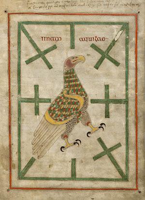 Eagle motif in St. John's Gospel:8th-century Northumbrian mss