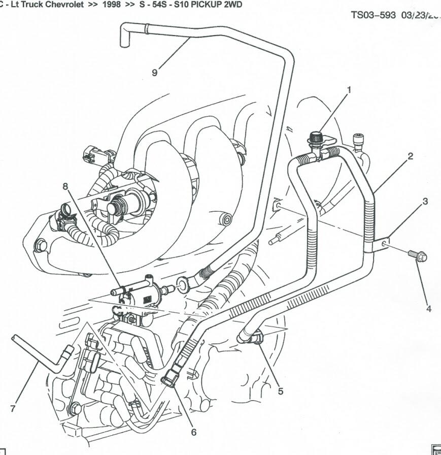 1998 S-10 Pickup EVAP Service Port Hose Loose - Chevrolet ...