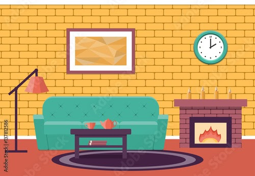 Awesome Fireplace Flat Design pictures