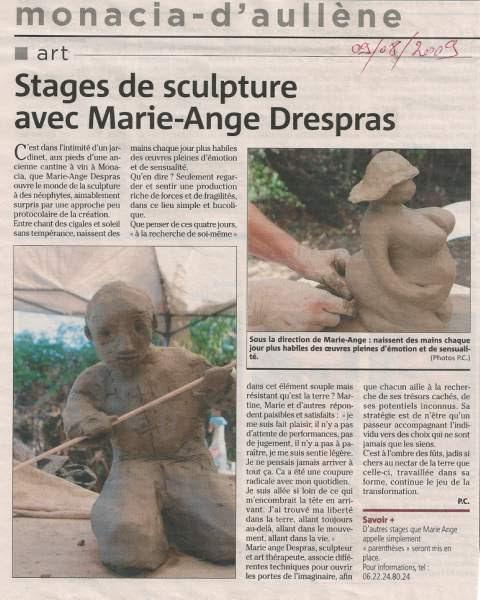 stages sculpture de Marie-Ange Despras
