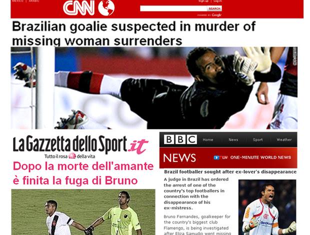 Bruno, notícia de sua prisão sai em jornais internacionais