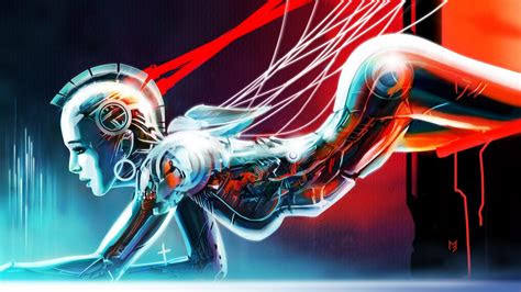 full hd wallpaper cyborg lady robot wire light neon