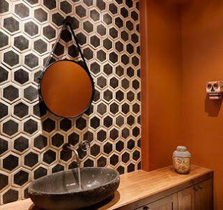 black geometric tile