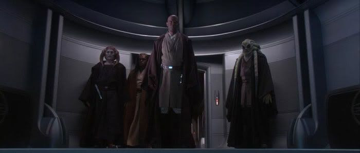 Mace Windu and his Jedi posse await their doom as they confront Chancellor Palpatine in his office.