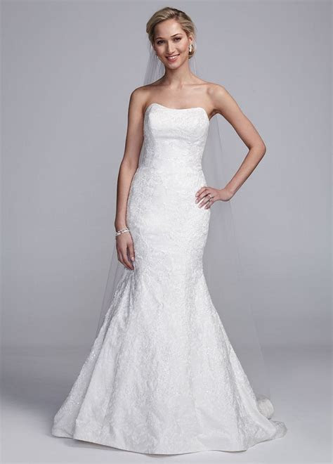 Oleg Cassini Brocade Strapless Fit and Flare Wedding Dress