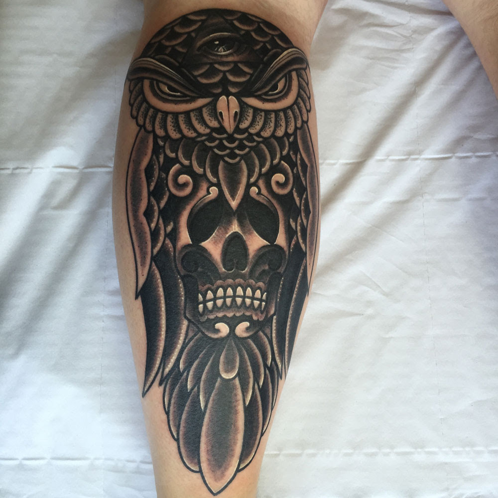 Owl And Skull Tattoo Holy Cow Tattoos