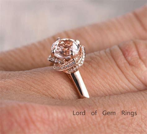 Diamond Halo Ring 7mm Round Morganite Engagement Ring