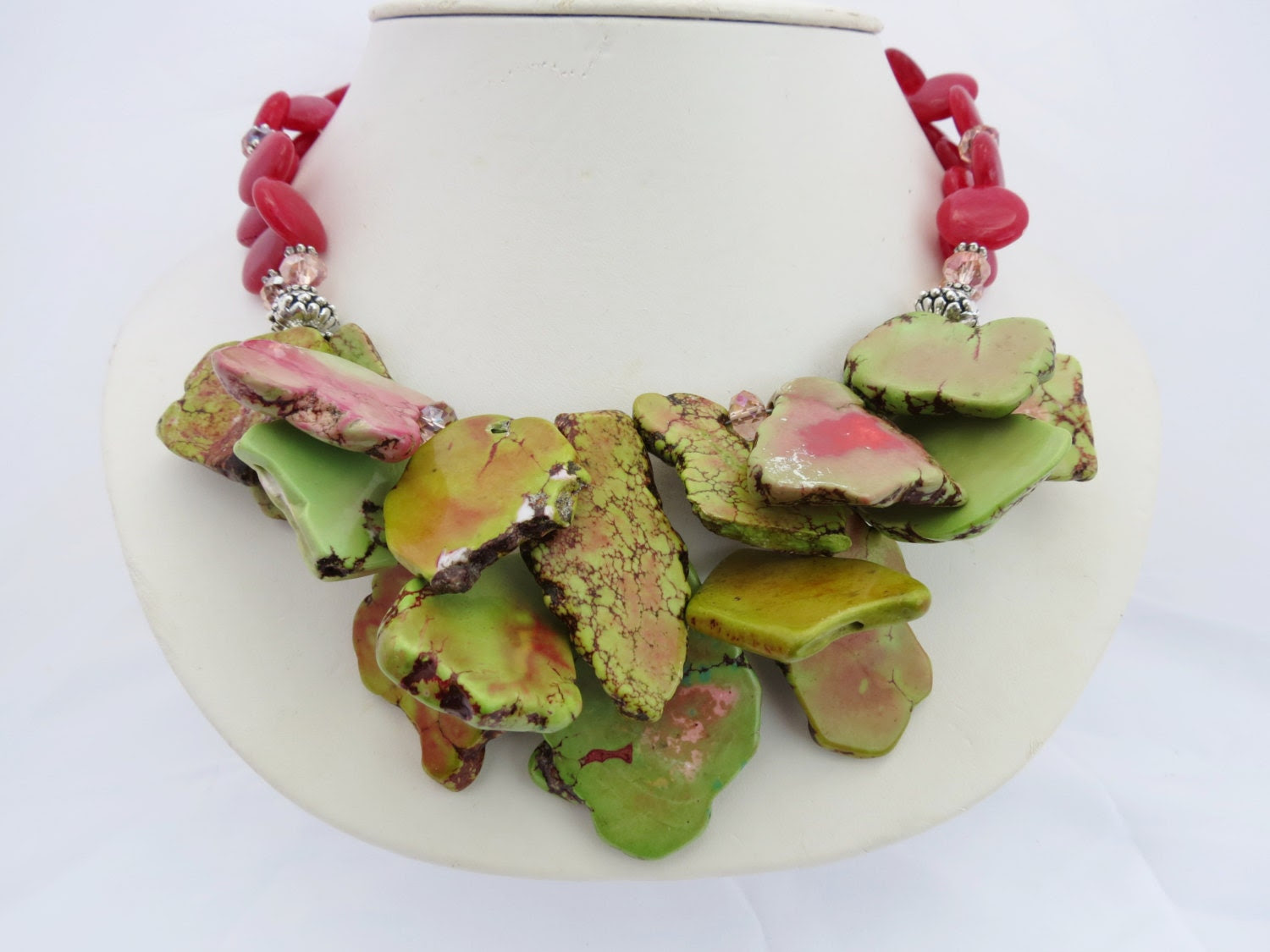Watermelon Turquoise Slices with Cranberry Jade and Crystals