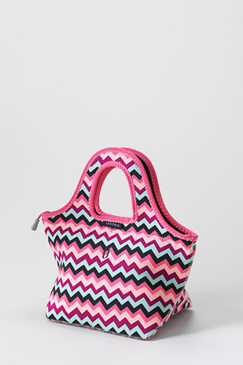 Girls' Neoprene Lunch Tote - Fuchsia Plum Chevron