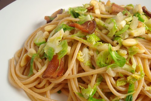 Spaghetti with Shaved Brussels Sprouts and Bacon