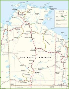 large detailed map of northern territory with cities and towns min