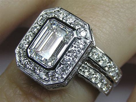 Engagement Ring  Emerald Cut Diamond Bezel Set Double Halo
