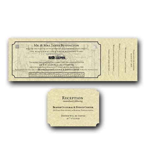 Train Ticket Wedding Invitation Set
