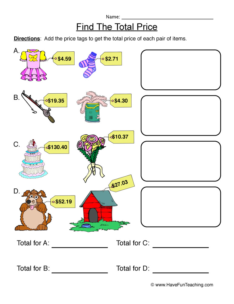 adding money worksheet 1