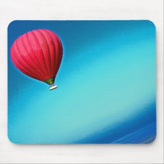 Red Hot Air Balloon in Graduated Blue Sky mousepad