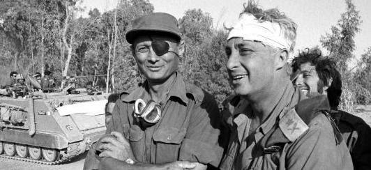 General Moshe Dayan & Ariel Sharon, Yom Kippur War, 1973.
