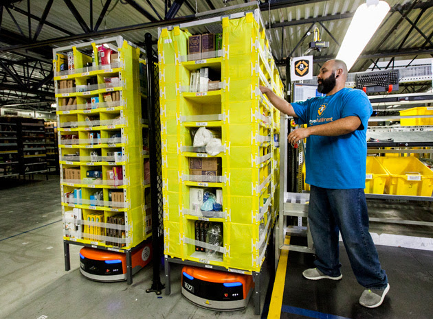 Amazon's robots in action at a warehouse
